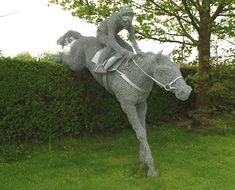 rupert till equestrian wire sculpturer  this is very similar of how I would like to create a mermaid or three for our fence...but I'd like to then cover the wire with muslin, paint it and make it waterproof....
