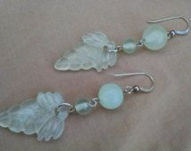 Hand carved natural jade jadeite stone grapes earrings ET150731