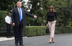 Luxe: Melania was photographed making her way to Marine One in a very minimalist look that showcased some bank-breaking pieces, beginning with her black crocidile Birkin