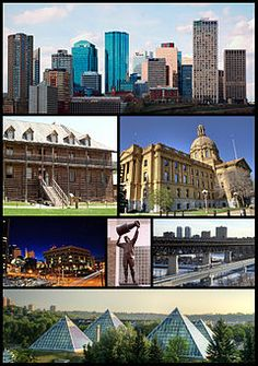 From top left: Downtown Edmonton, Fort Edmonton Park, Legislature Building, Law Courts, Rexall Place, High Level Bridge, Muttart Conservatory