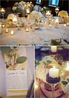 Table flowers - glass vases and candle light, Napkin decor with a sprig of eucalyptus