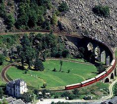 Bernina Express | The world famous looped viaduct at Brusio, Switzerland///Bernina Express | Brusio Spiral Viaduct, Switzerland