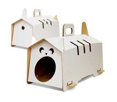 Easy to make, portable, and lightweight cat houses from Kote-j offer creative craft ideas