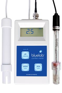 Bluelab Combo Meter (pH, Conductivity, and Temperature). Measures pH, temperature and EC, ppm 500, ppm 700 and CF. Lightweight and portable. Successful pH calibration indicator. Replaceable Double Junction pH Probe included. Auto off function. Please see page 3 onwards for set up info, see page 12 for troubleshooting in the user manual attached in the catalog below.