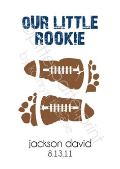 Sports Nursery Baby Footprint Football Art Print - Baby Boy Nursery, Boys Room Wall Art - 5x7 Personalized Baby Footprint Art, Kids Wall Art...