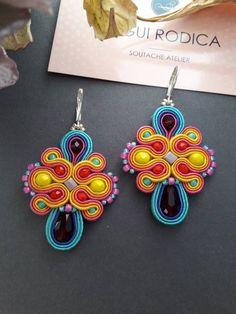 Colorful flower soutache earrings multicolor boho earrings | Etsy Soutache Earrings, Boho Earrings, Chandelier Earrings, Etsy Earrings, Drop Earrings, Button Crafts, Hippy, Colorful Flowers, Jewels