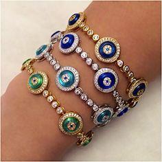 Sterling Silver Evil Eye Tennis Bracelet - V & V Jewels Evil Eye Jewelry, Evil Eye Bracelet, Diamond Bracelets, Sterling Silver Bracelets, Charm Bracelets, Bangles, Mommy Jewelry, Modern Jewelry, Pendant Jewelry