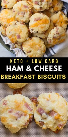 These Keto Ham and Cheese Breakfast Biscuits are the perfect easy keto breakfast! Each soft, fluffy biscuit is loaded with cheese and ham and has less than 2 net carbs each!  #keto #lowcarb #mealprep Easy Healthy Dinners, Easy Healthy Recipes, Easy Dinner Recipes, Low Carb Recipes, Diet Recipes, Cooking Recipes, Health Recipes, Smoothie Recipes, Dinner Ideas