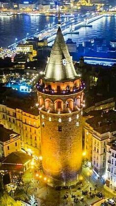 The Galata Tower in Istanbul, Turkey. Turkey Vacation, Turkey Travel, Monuments, Wonderful Places, Beautiful Places, Istanbul Guide, World Street, Istanbul Travel, Turkish Art
