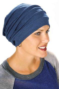cotton chemo hat - slouchy cap in dark denim