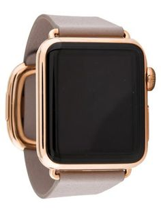 Ladies' 18K rose gold 38mm Apple Edition Watch with quartz movement, 18K rose gold case, digital dial, adjustable mauve leather wrist strap and 18K rose gold ball and joint closure. Includes box, manual, polishing cloth and charger. #WatchBands