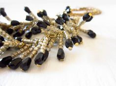 Black Necklace Crystals Gold Chain by JewelryNeshElly on Etsy, $21.00