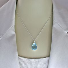 Aqua Necklace Vintage Glass Jewel Sterling by ZhivanaDesigns, $32.00