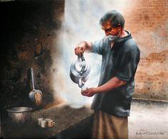 Tea Stall - Portrait/Figures Water Painting   World Art Community