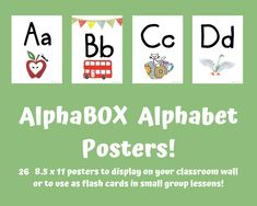 AlphaBOX Alphabet Wall Posters that correspond with the AlphaBOX book series! Alphabet Phonics, Alphabet Wall, Alphabet Book, Alphabet Posters, Classroom Walls, Lower Case Letters, Lowercase A, Poster Wall, Book Series