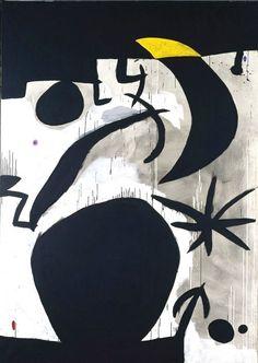 "artist-miro: ""Woman and Birds in the Night, Joan Miro Medium: acrylic,canvas"" Spanish Painters, Spanish Artists, Joan Miro Pinturas, Abstract Expressionism, Abstract Art, Abstract Landscape, Art Blanc, Joan Miro Paintings, Hieronymus Bosch"