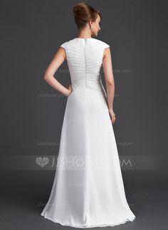 A-Line/Princess V-neck Floor-Length Chiffon Mother of the Bride Dress With Ruffle Cascading Ruffles (008006565)