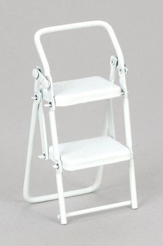 dollhouse miniature WHITE LADDER STEP STOOL KITCHEN STEP LADDER METAL NEW