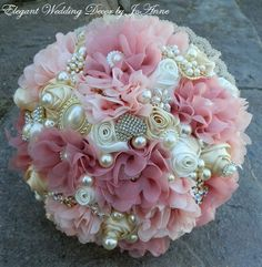 FABRIC FLOWER BOUQUET, Rustic Brooch Bouquet, Dusty Rose Pink Fabric Flower…