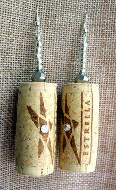 Metallic :: Handmade wood wine cork dangle earrings featuring clear Swarovski Elements rhinestones, silver iris glass beads and small silver glass beads.  www.grapevarietyjewelry.etsy.com