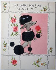 Vintage 1950s Mid Century Secret Pal Greeting Card, Fuzzy Pampered Poodle  322