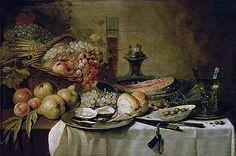 Title: Still Life with Salmon, c.1651 Artist: Pieter Claesz Medium: Canvas Print