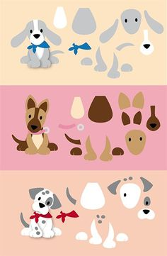 variations with schedules Puppy Crafts, Marianne Design Cards, Dog Quilts, Felt Dogs, Dog Cards, Felt Patterns, Animal Cards, Stuffed Animal Patterns, Punch Art