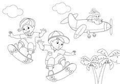 Dibujos infantiles para colorear, micro cuento Bruno y Sara montan en skate y pasa Marta en su avioneta. Snoopy, Fictional Characters, Art, Free Coloring Pages, Colors, Craft Art, Kunst, Gcse Art, Art Education Resources