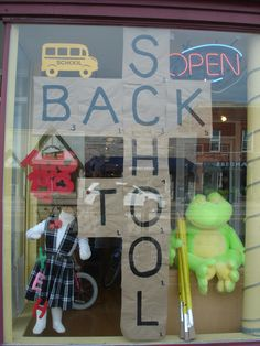 The Funky Frog, Children's Resale Boutique's 2014 Back to School Window