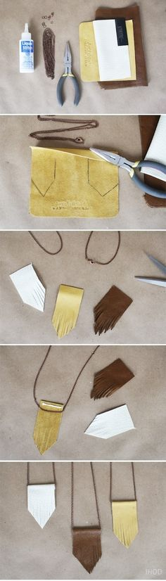 DIY leather necklace. I need to start wearing brown again.