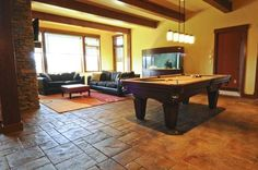 Game room stamped concrete floors