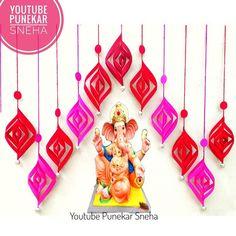 Diy Diwali Decorations, Festival Decorations, Ganpati Decoration Ideas, Decor Ideas, Ganesh Pooja, Ganapati Decoration, Ganesha Pictures, Diwali Diy, Background Decoration