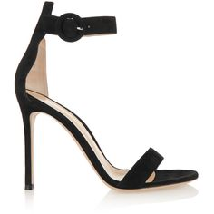 Gianvito Rossi Portofino suede sandals (46.745 RUB) ❤ liked on Polyvore featuring shoes, sandals, heels, gianvito rossi, black, black sandals, black strappy sandals, black high heel sandals, strap sandals and strappy heeled sandals