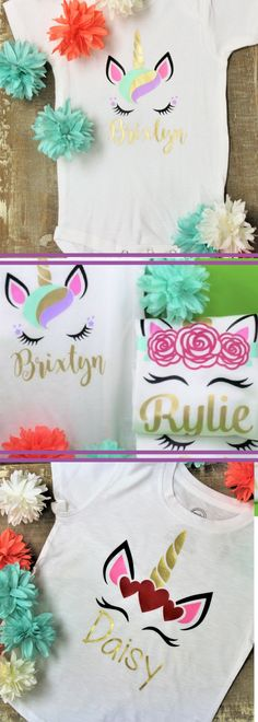 Personalized Unicorn Tee or Onesie - Kid's Fashion - Kid's Style - Kid's Custom Shirt - Outfit - Toddler Clothing - Baby Clothing - Girls Clothing - Girl's Style - Unicorns - #ad