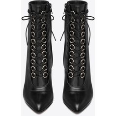 Saint Laurent ($1,295) ❤ liked on Polyvore featuring shoes, boots, ankle booties, black boots, heels, yves saint laurent booties, heeled ankle booties, yves saint laurent and black heeled booties