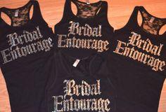8 Bridesmaid half lace rhinestone Tank Top Shirts. Bridal Entourage Lace tank top. Bridal Party. Maid of Honor. Bachelorette party tanks. on Etsy, $160.00