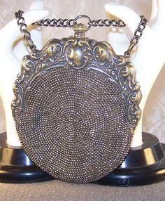 Victorian Art Nouveau Steel Bead Leather Handbag Purse