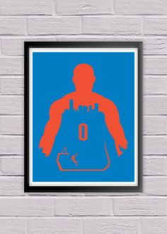 Russell Westbrook #0 Oklahoma City Thunder Print NBA Nation Basketball Association Sports Fan Minimalist Wall Art House Warming. Russell Westbrook #0 for the Oklahoma City Thunder! This Minimalist Poster Print showcases the Oklahoma City Skyline while sporting the vibrant colors of the Thunder. This print will make a great addition to any Thunder fan collection, or make for the perfect gift for any Oklahoma City sports follower out there!