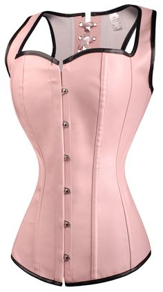 a2671 Pink Leather Overbust Corset Vest
