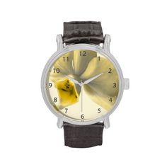Artistic Flower in Yellow Tones / Vintage Leather Strap Wrist Watch #fomadesign