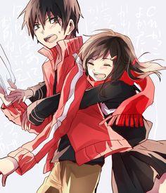 Tags: Anime, Hug From Behind, Kagerou Project, Kisaragi Shintaro, Tateyama Ayano, Pixiv Id 2277453