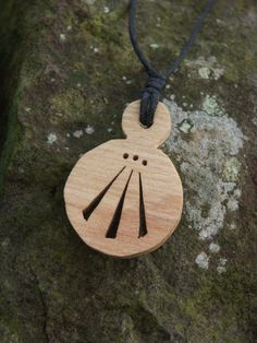 Hand carved sycamore wood pendant awen pagan wicca wiccan  Sherwood forest uk