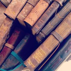 Beth Schaible's nontraditional longstitch bindings from her class at Penland