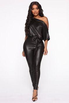 Available In Black.PU Leather Jumpsuit Off ShoulderTie WaistSkinny LegStretch Inseam Polyester SpandexMade In USA Leather Jumpsuit, Black Jumpsuit, Dress Black, Rompers Women, Jumpsuits For Women, Mode Latex, Outfit Invierno, Ruffle Jumpsuit, Long Jumpsuits