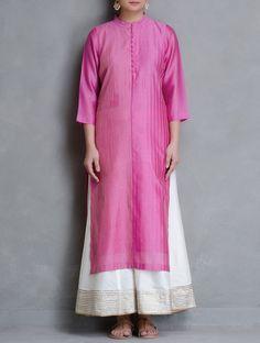 Buy Pink Pintuck Detailed Maheshwari Kurta Cotton Women Kurtas Online at Jaypore.com