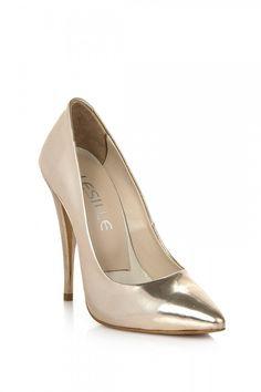 Lesille Platin Deri Stiletto Ayakkabı: Lidyana.com