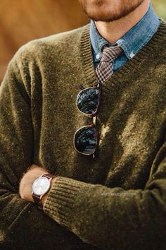 Denim Shirt, Tweed Tie + Sweater.