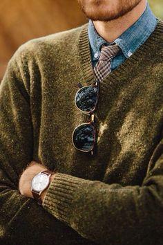 Denim Shirt, Tweed Tie + Sweater.