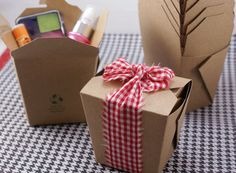 take out boxes - would be great to use for party or wedding favors (fill with a cupcake or candy or anything). It would look great with a monogrammed sticker on the side.