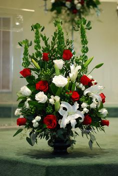 church rose altar arrangement | Altar Arrangement Red & White | Flickr - Photo Sharing!